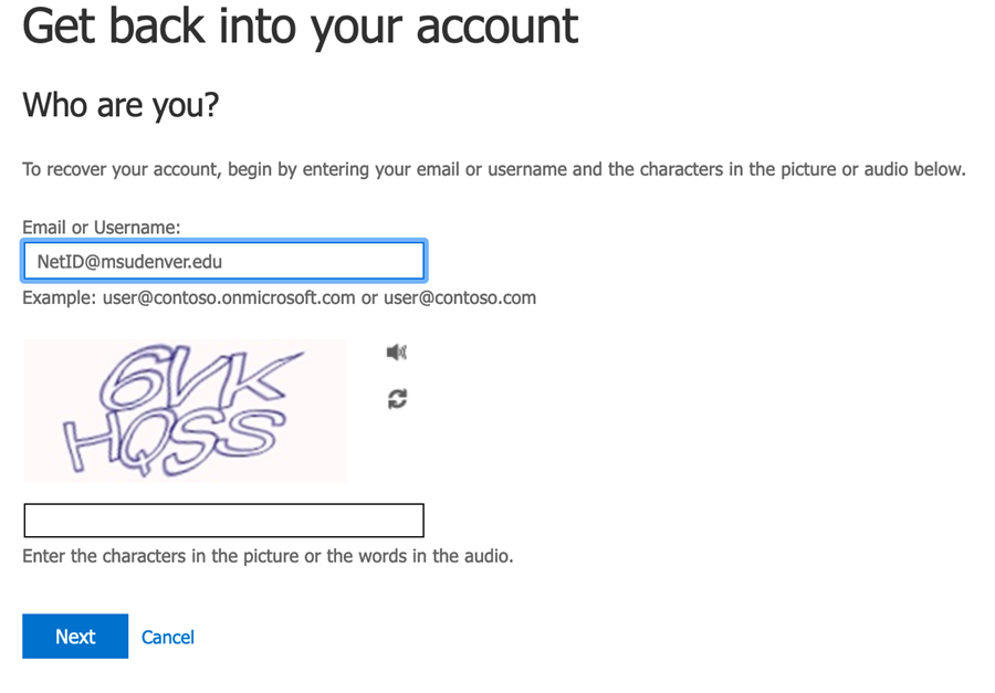 Get back into your account screen