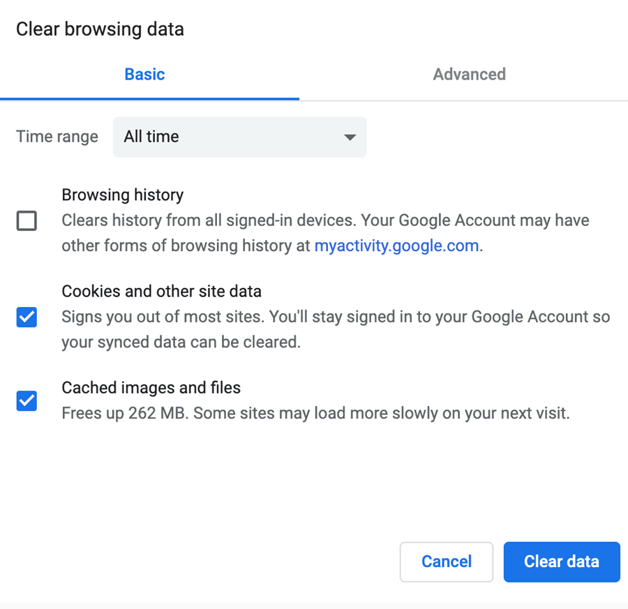 Clear browsing data options in Chrome