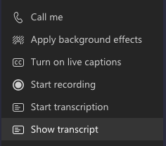 Screenshot of the options for starting transcription and show/hide of transcript