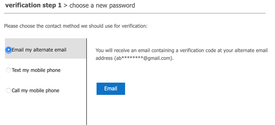 Selecting alternate email option
