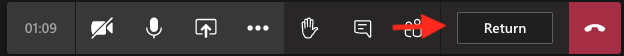 A screenshot showing where the return to main meeting button