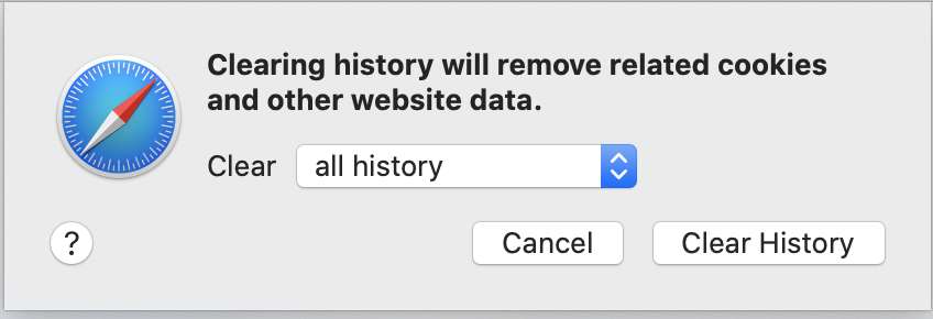 Safari clear all history