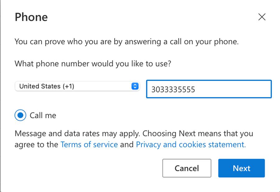 Image of setting up alternate phone number settings