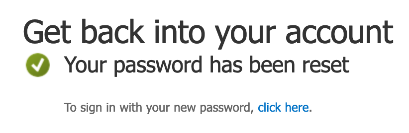Confirmation of successful password reset