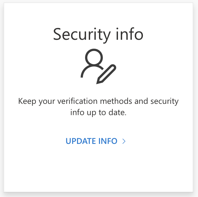 Appearance of the Office 365 Security Info option