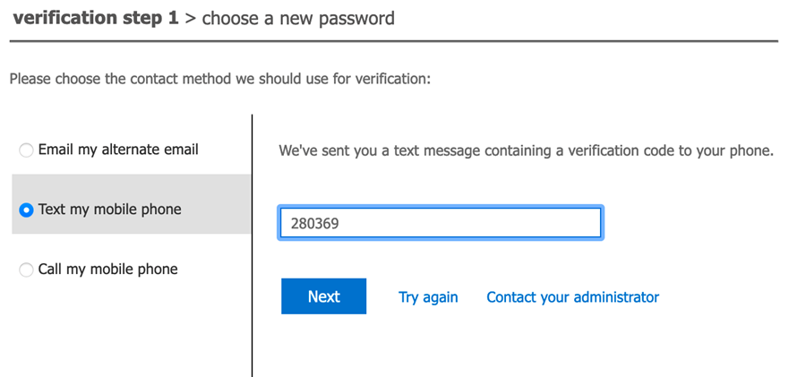 Enter verification code sent to your chosen method