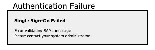 Single Sign-On Failed Error