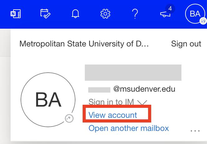 Account options drop down menu