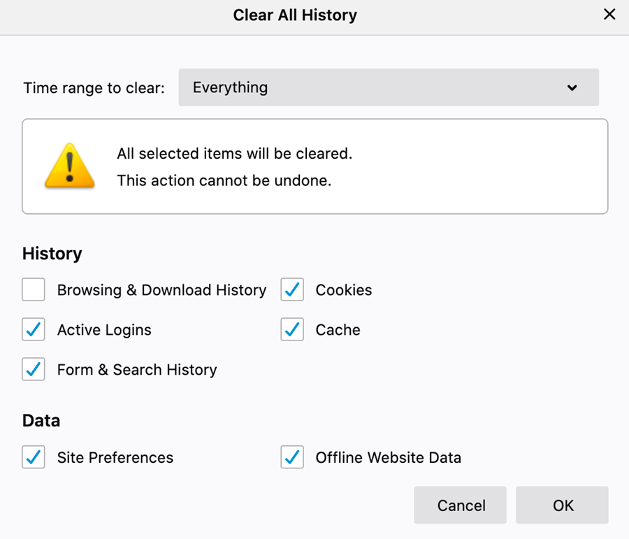 Clear All History options