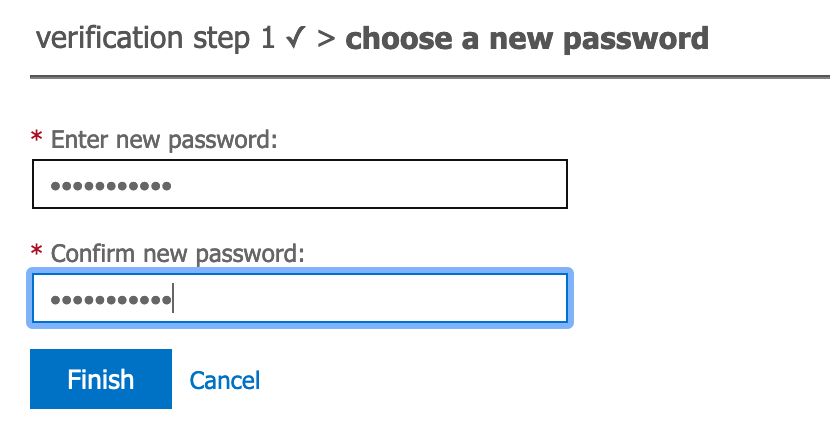 Enter and confirm password screen